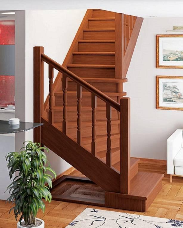 Деревянная межэтажная лестница ЛЕС-02 (поворот 90°)