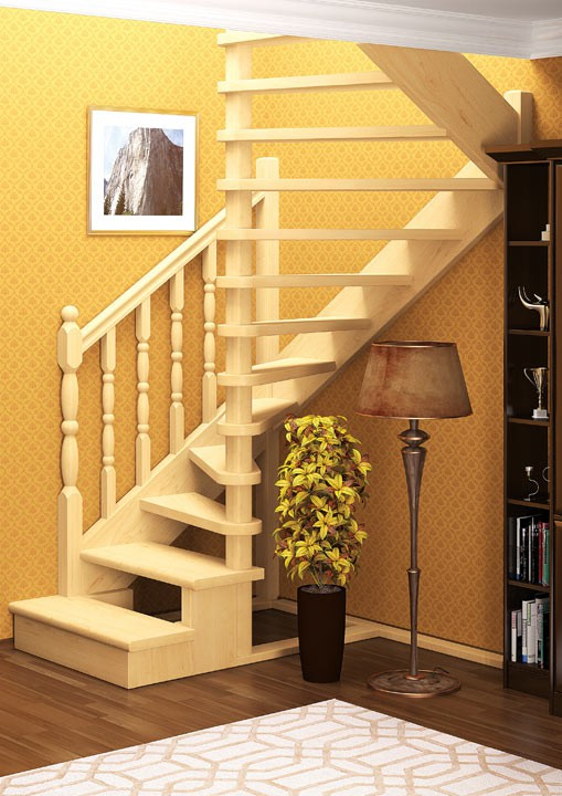 Деревянная межэтажная лестница ЛЕС-03 (поворот 180°)