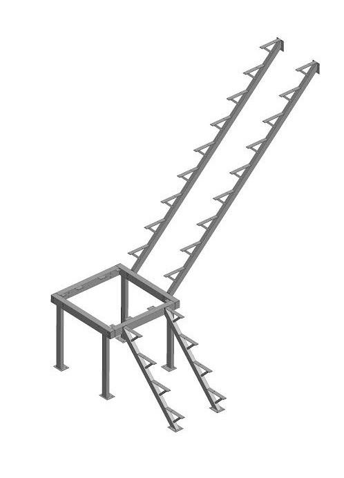 Каркас к лестнице ЛЕС-05 универсальной (поворот 90°, высота 2,76 м )