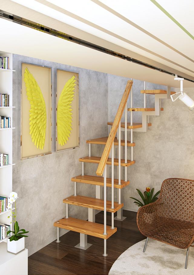 Модульная лестница высота 2475 мм квадратный профиль (с поворотом 90°) высота ступени 225 мм