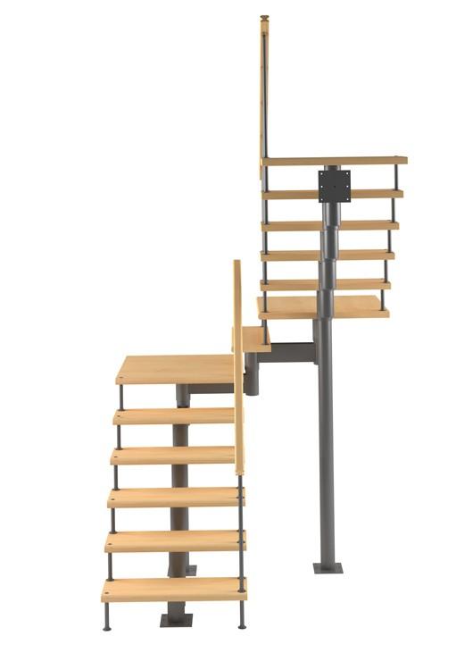 Модульная лестница высота 3060 мм (с поворотом 180° и площадками)  высота ступени 180  мм