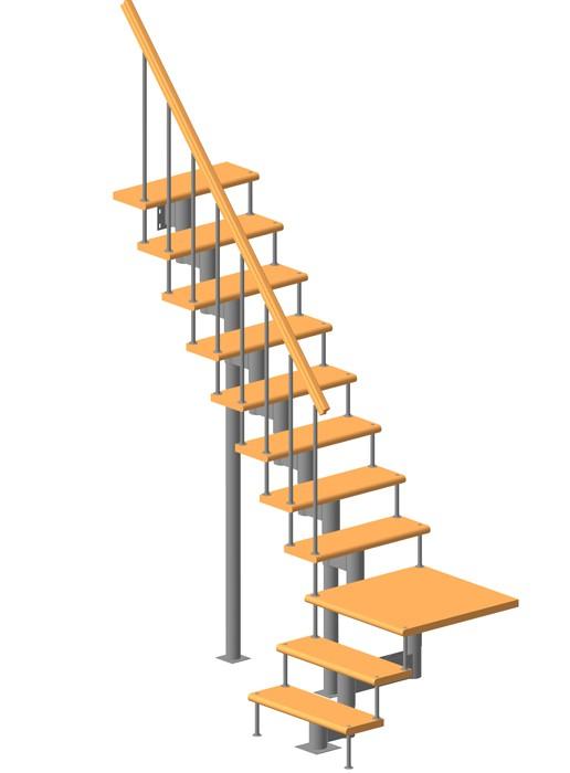 Модульная лестница высота 3240 мм (с поворотом 90°  и площадкой)  высота ступени 180 мм