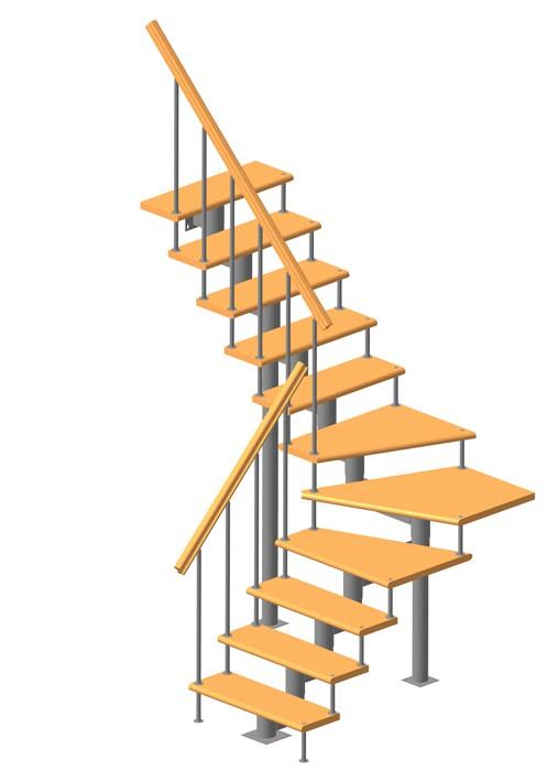 Модульная лестница высота 2700 мм (с поворотом 90°) высота ступени 225 мм