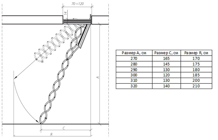 Металлическая огнестойкая лестница LSF 70х80x280-300 FAKRO