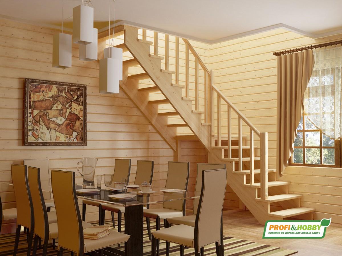 Лестница из сосны К-002м (вариант №4) Правая