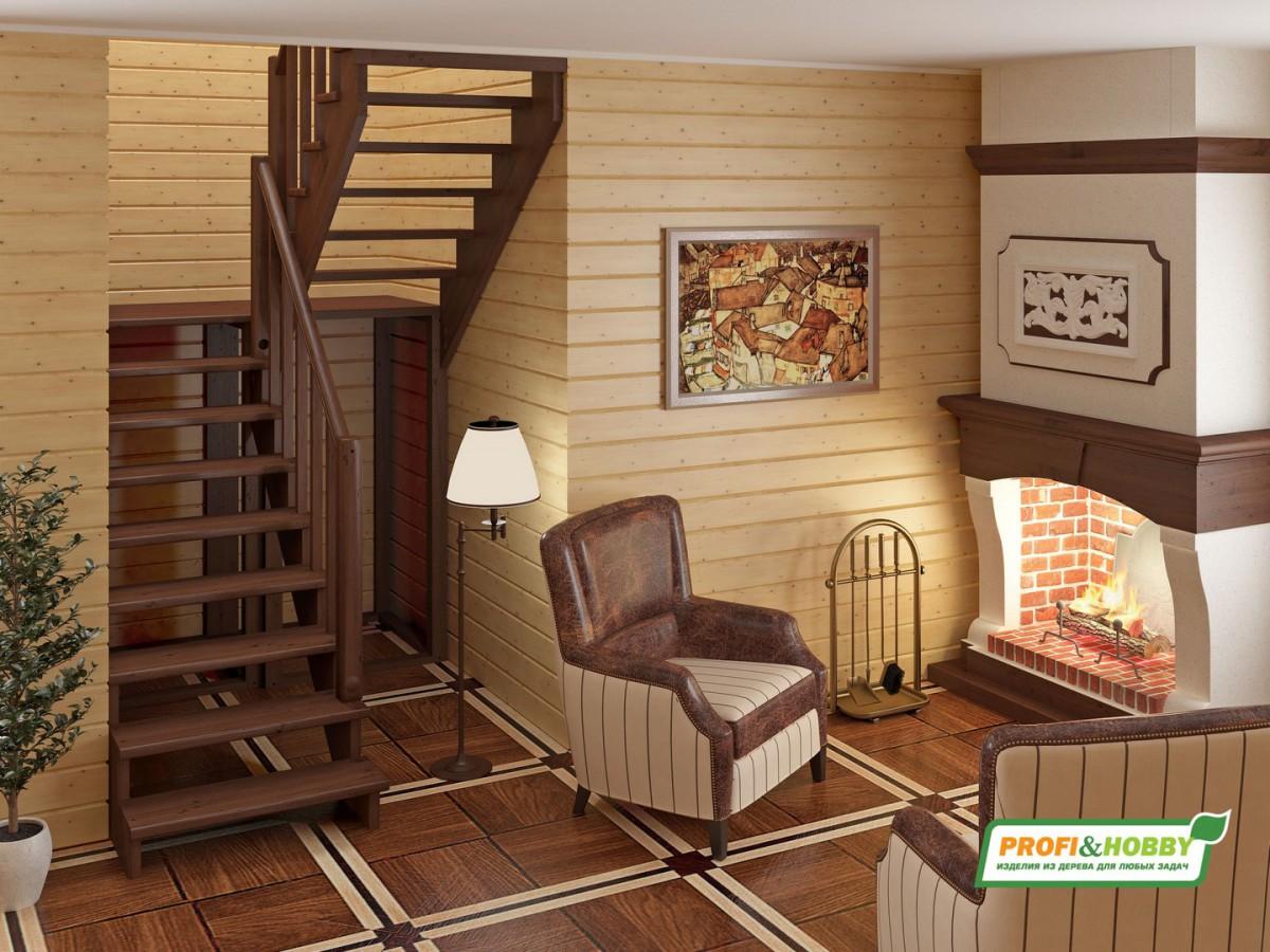 Лестница из сосны К-004м (вариант №2) Правая