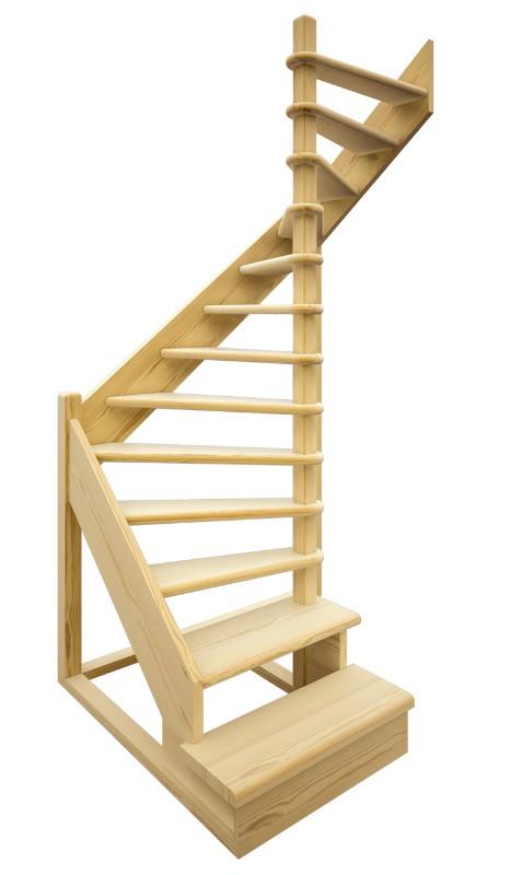 Деревянная межэтажная лестница ЛЕС-01 (поворот 180°)