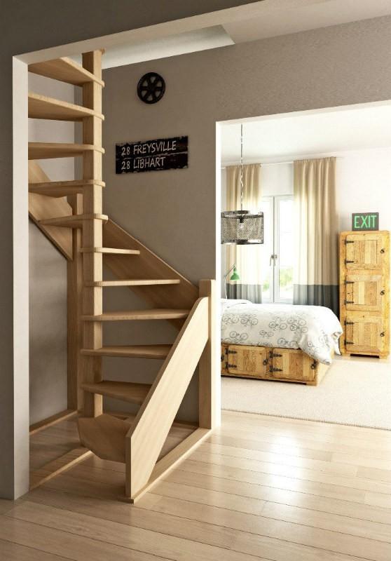 Деревянная межэтажная лестница ЛЕС-1,2ВУ (поворот 360°)