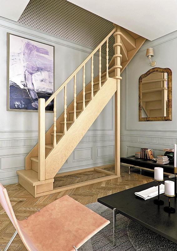 Деревянная межэтажная лестница ЛЕС-215 (поворот 90°)