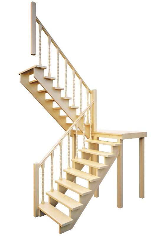Деревянная межэтажная лестница Лес-62 универсальная (поворот 180°)