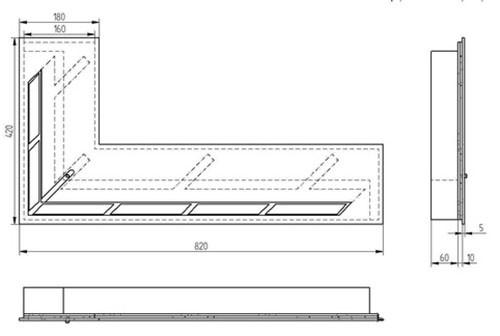 Прямоугольный контейнер ZeFire угловой 800