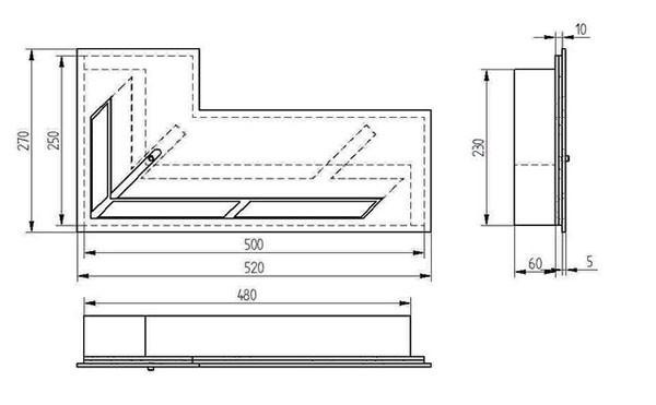 Прямоугольный контейнер ZeFire угловой 500