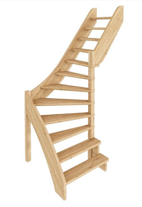 Лестница из сосны ЛС-92м (вариант №2) Правая