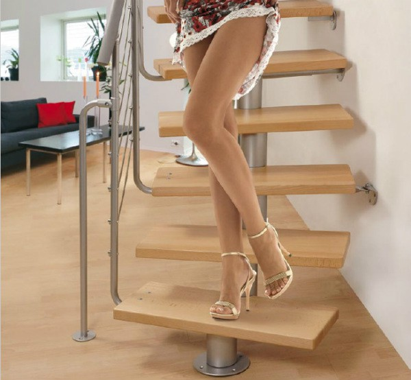 Модульная лестница DIXI, 2220-3000 мм, 11 ступеней - Ольха, серый