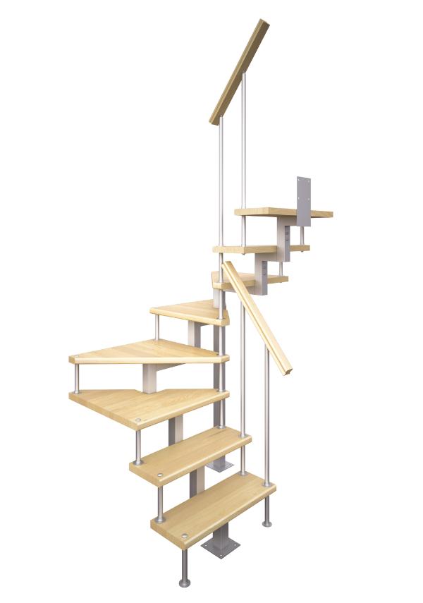 Модульная лестница высота 2475-2700 мм кв. профиль (поворот 180°) 11 ступеней, высота ступени 225 мм
