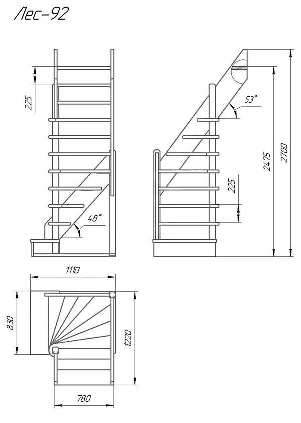 Деревянная межэтажная лестница ЛЕС-92 (поворот 90)