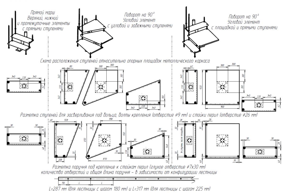 Модульная лестница высота 3150 мм (с поворотом 180° и площадками) высота ступени 225 мм