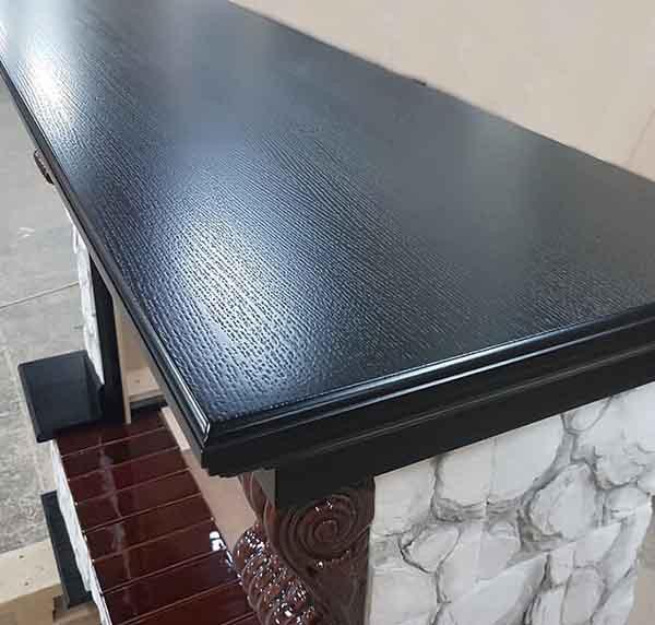 Электрокамин пристенный Арочный Карелия/Венге с очагом Majestic black