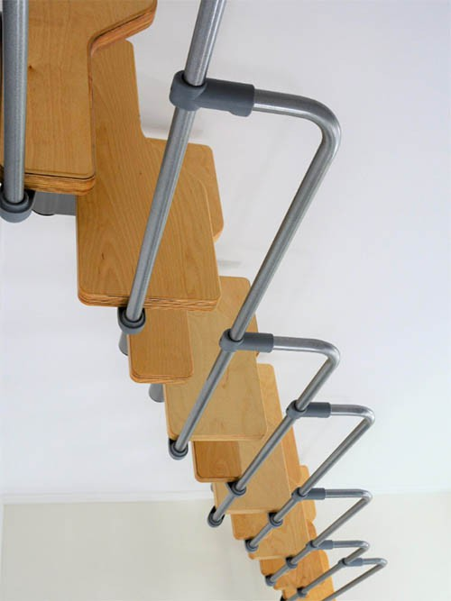 Модульная лестница TWISTER, 2236-2940 мм, 12 ступеней - Ольха, серый