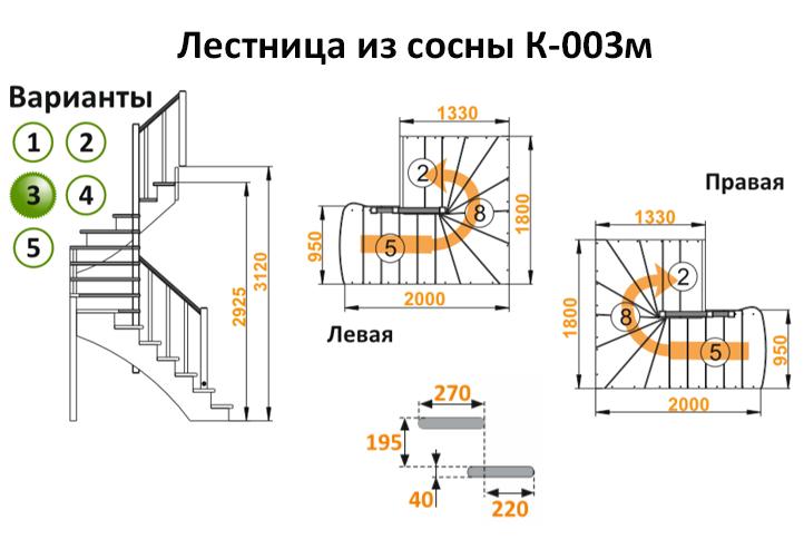 Лестница из сосны К-003м (вариант №3) Правая