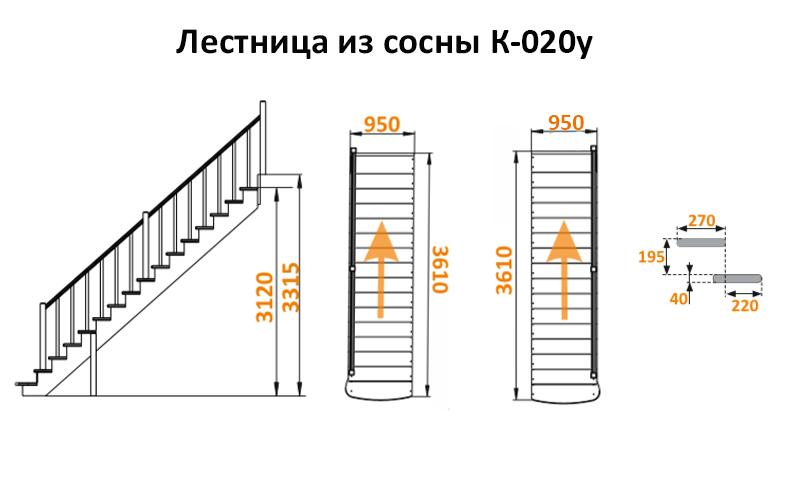 Лестница из сосны К-020у