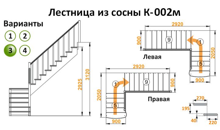 Лестница из сосны К-002м (вариант №3) Правая