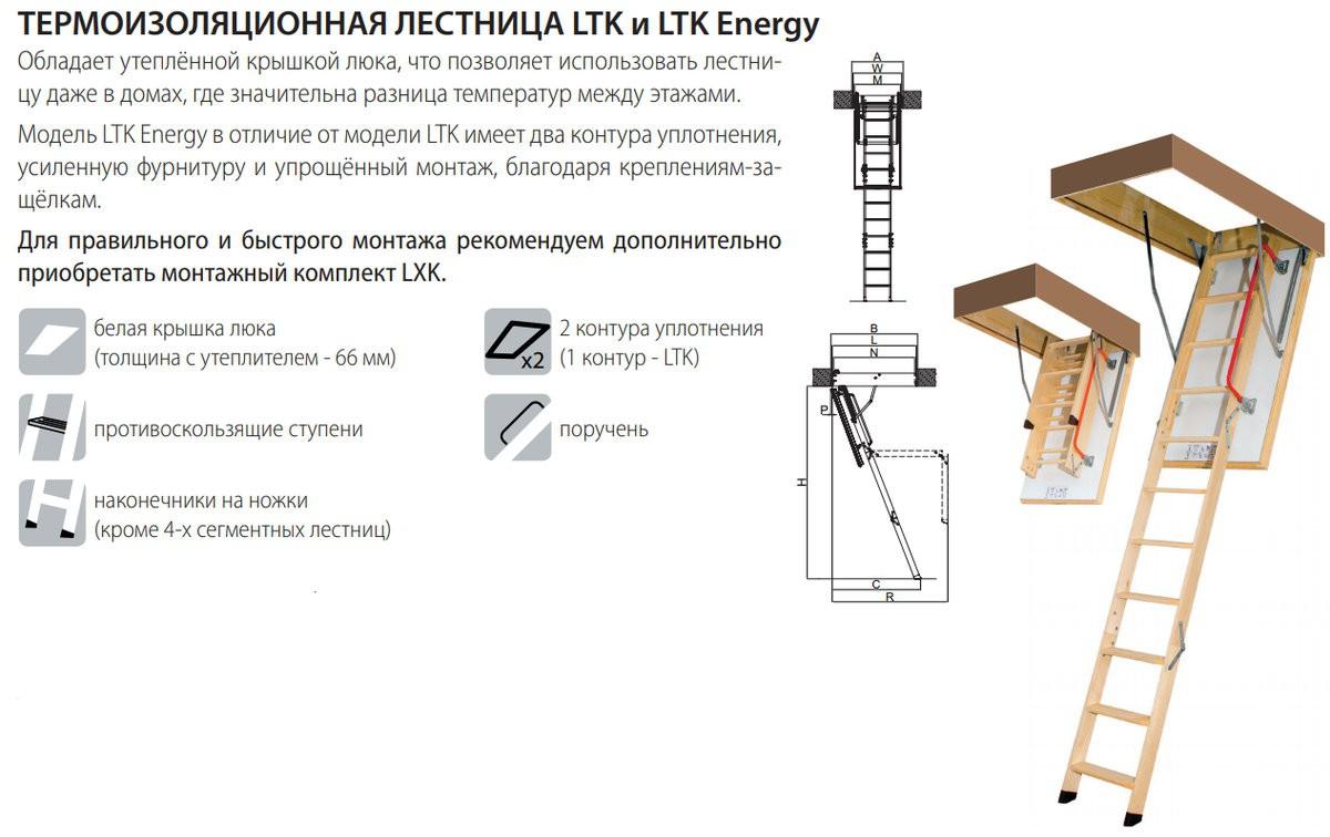 Термоизоляционная складная чердачная лестница LTK Energy 60x100x280 FAKRO (без наконечников на ножки