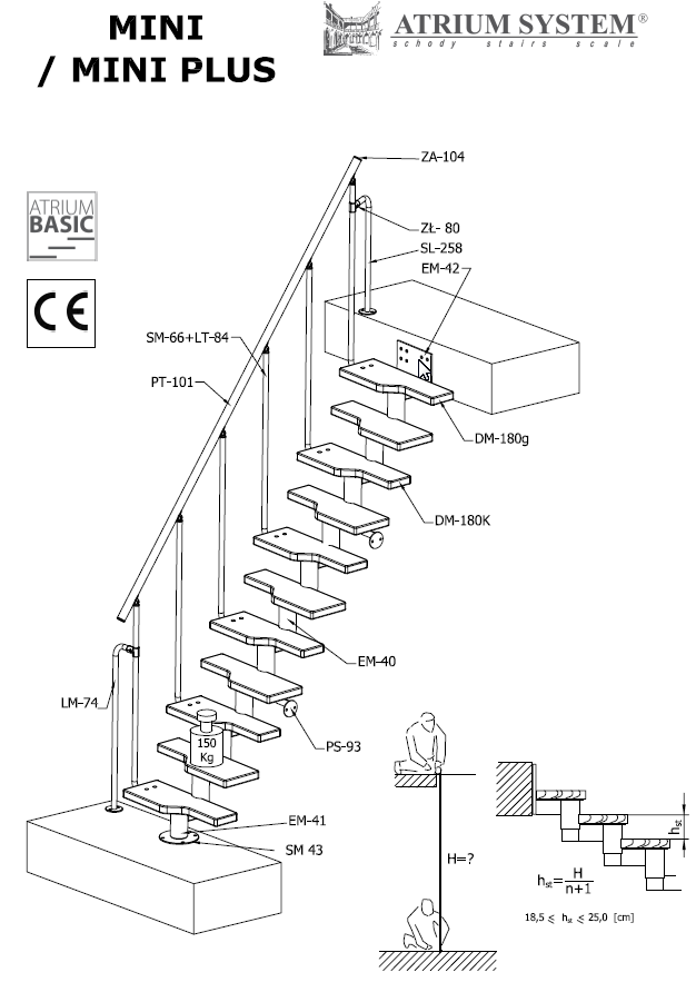 Модульная лестница MINI PLUS, 2220-3000 мм, 11 ступеней - ольха, черный