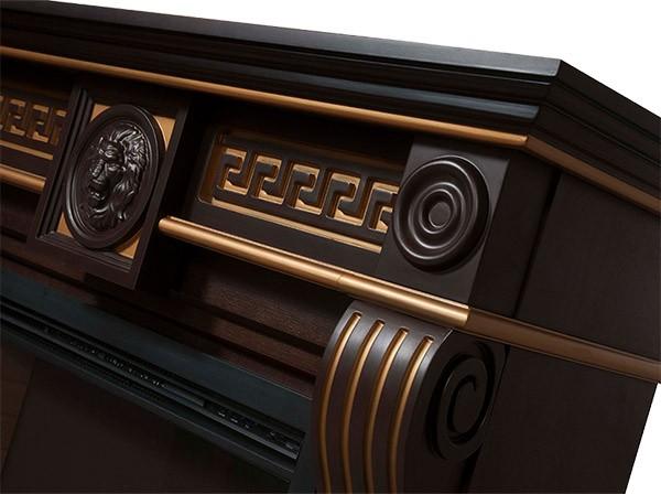 Электрокамин пристенный Vittoriano 30 Темный  дуб с золотой патиной с очагом EFP/P - 3020LS