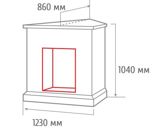 Электрокамин угловой Leticia corner WT с MoonBlaze -S Lux Br