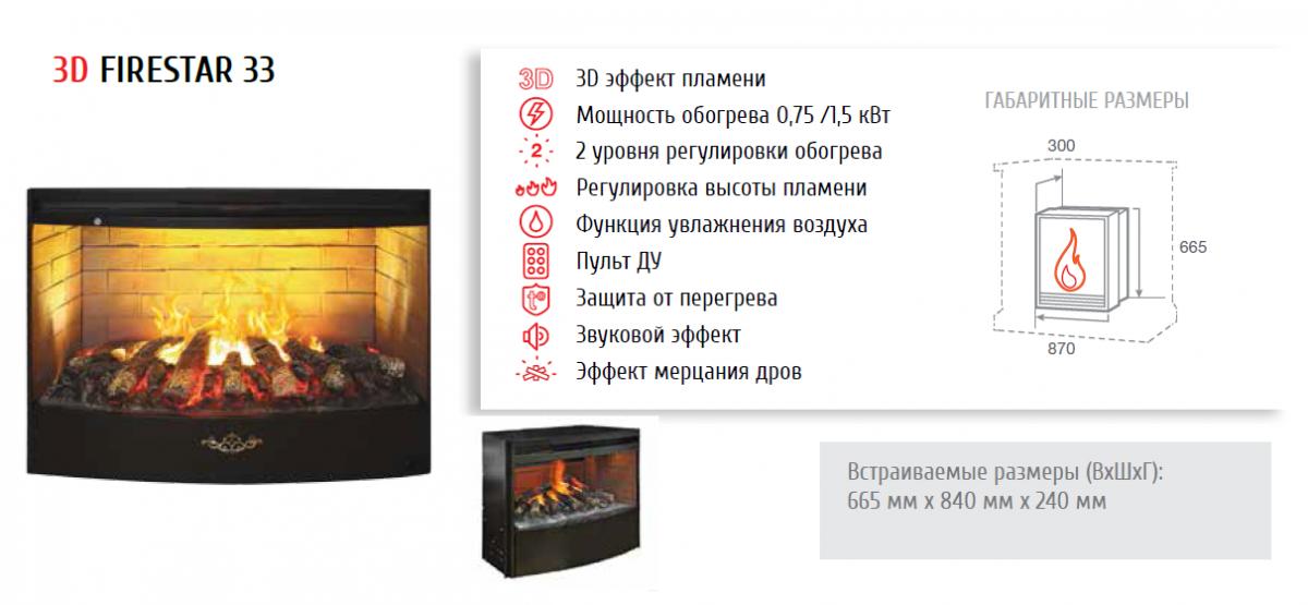 Электрокамин пристенный 3D Ellada 33 WT с FireStar 33 3D