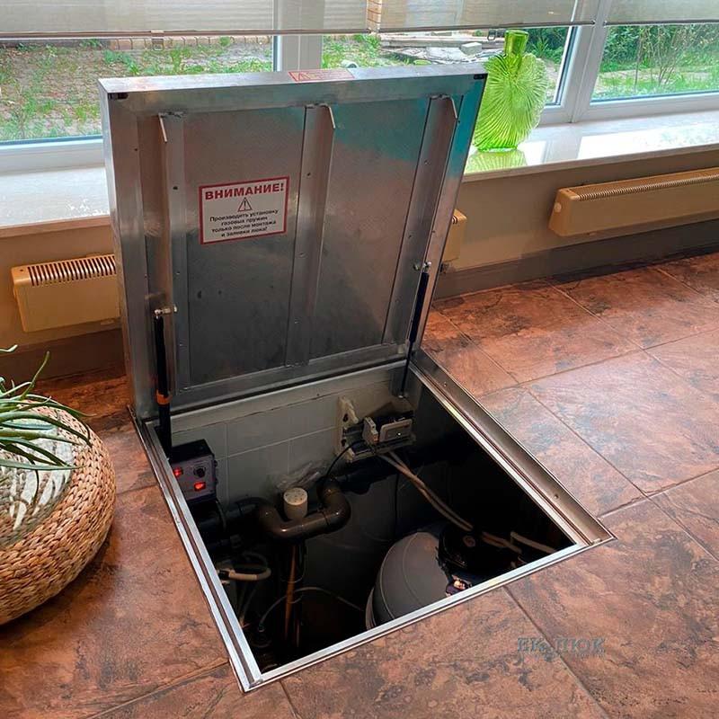 Напольный люк с амортизаторами 900*900*54 МАКС (Потайная защелка)