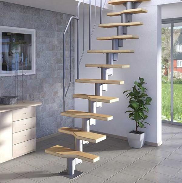 Модульная лестница ATHENA, 2220-2760 мм, 11 ступеней - бук, серебро