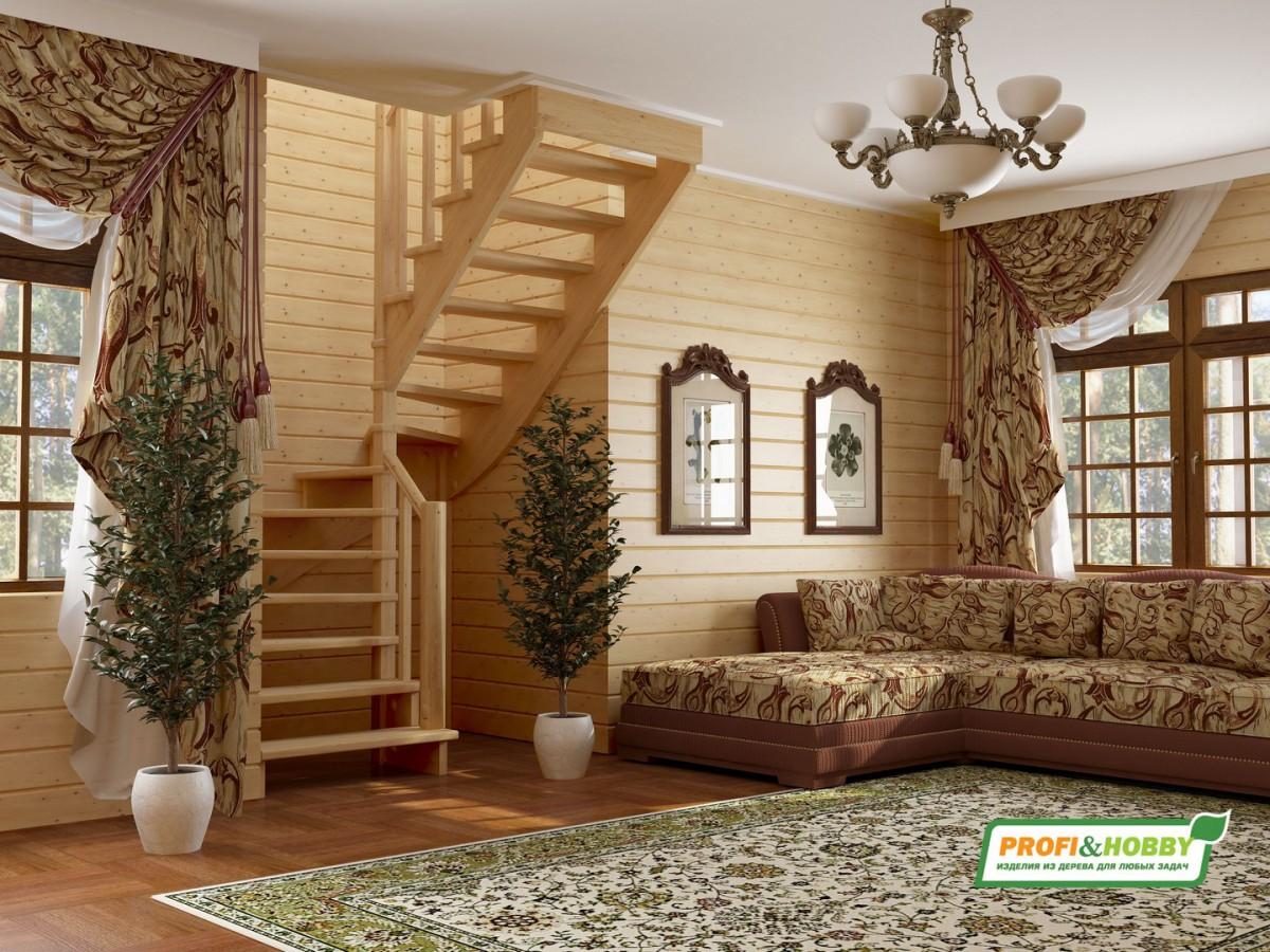 Лестница из сосны К-003м (вариант №4) Правая