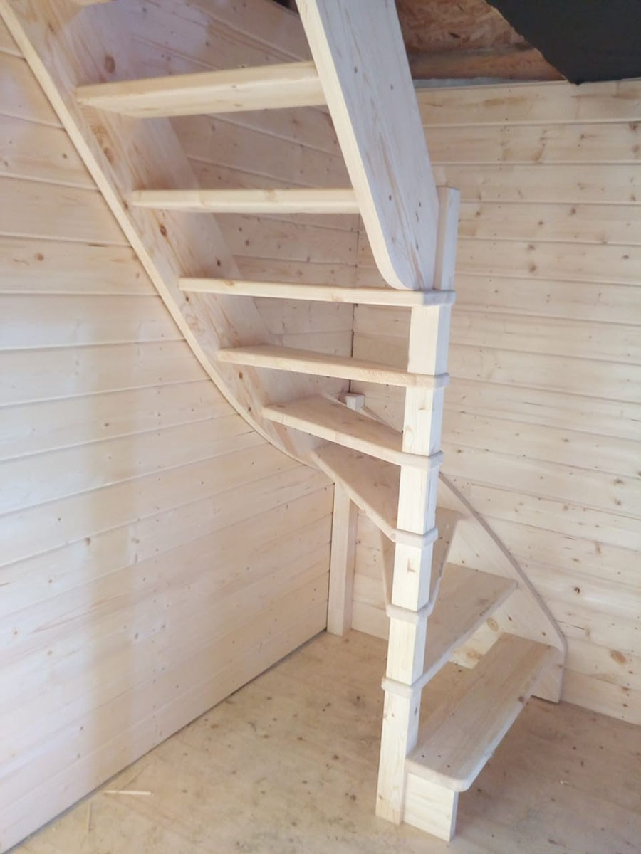 Лестница из сосны ЛС-92м (вариант №4) Левая