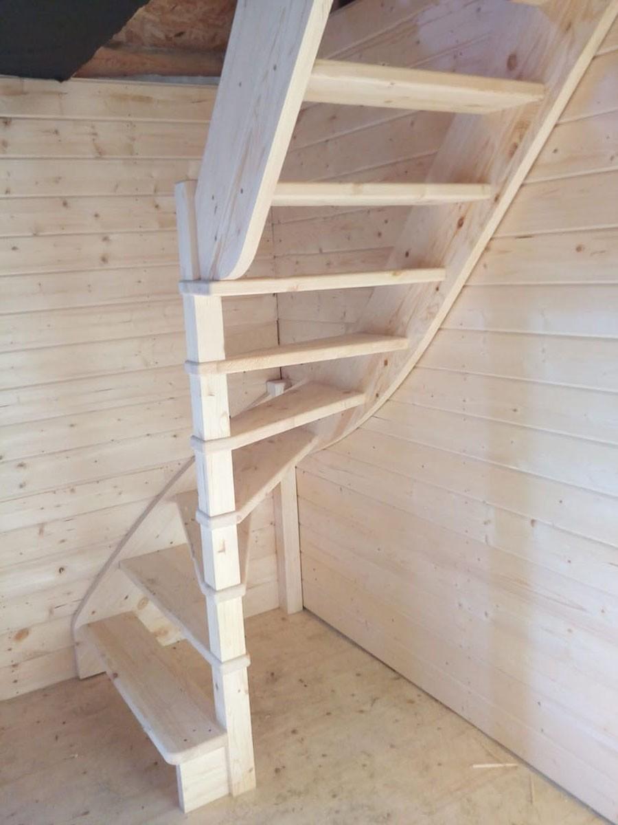 Лестница из сосны ЛС-92м (вариант №1) Правая