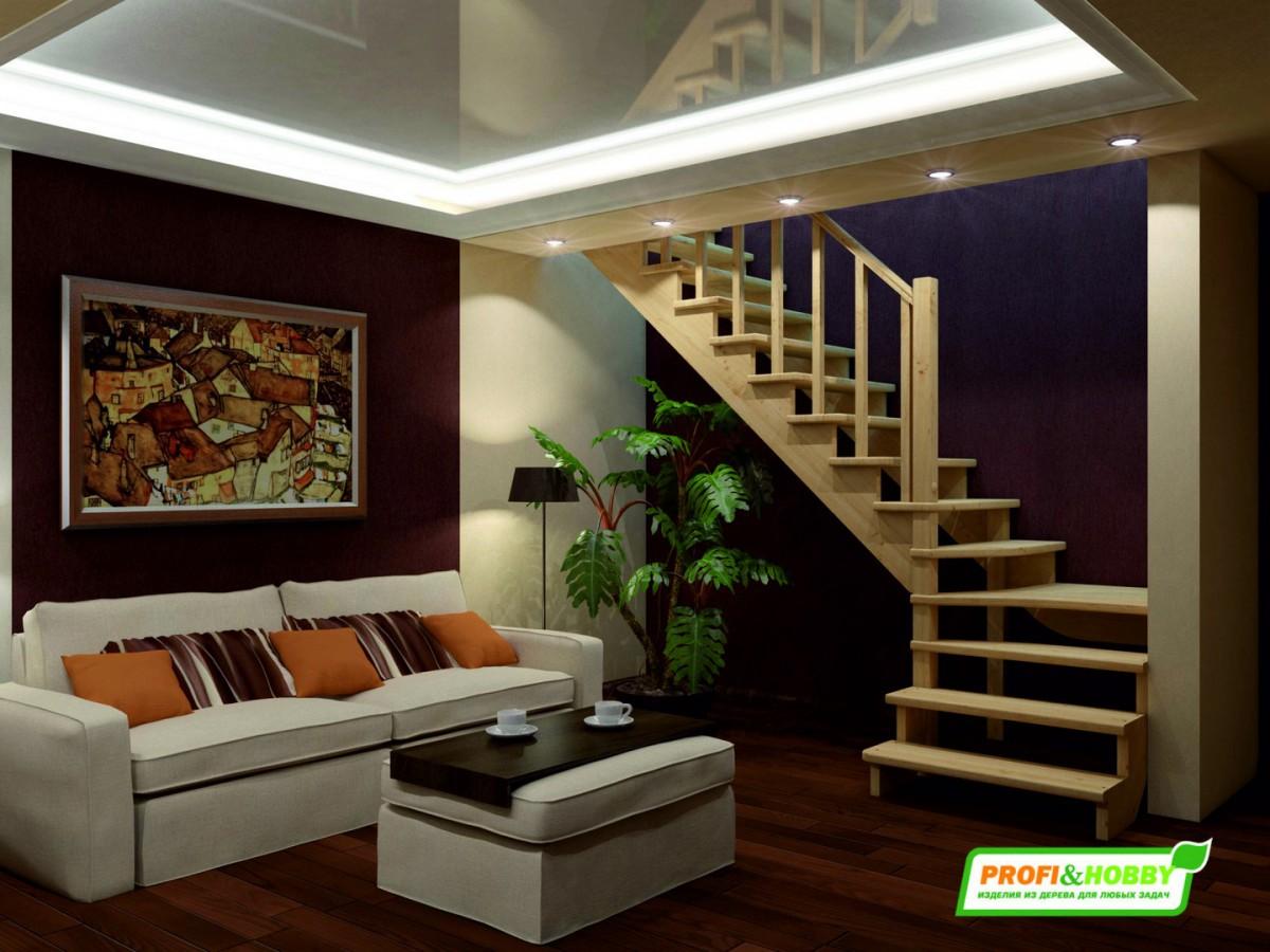Лестница из сосны К-031м (вариант №4) Правая