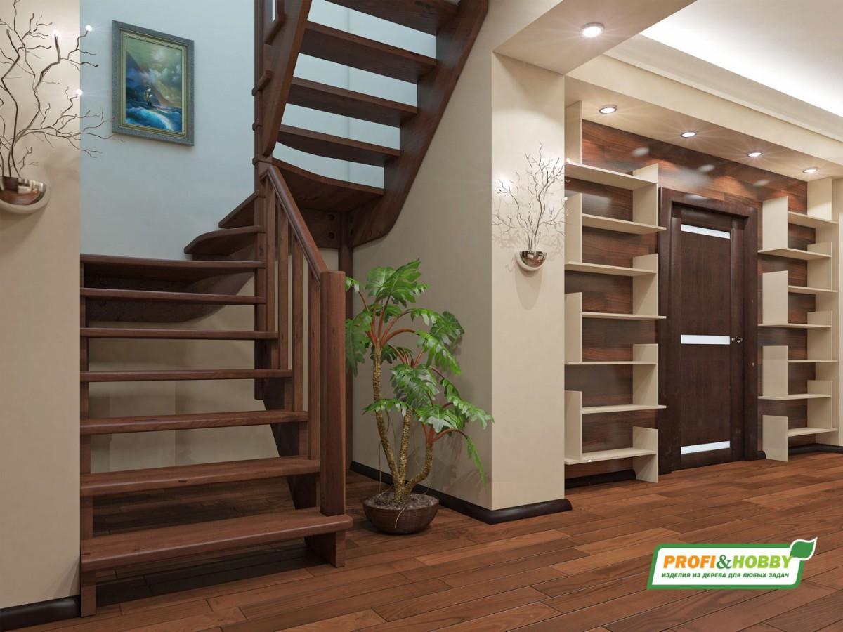 Лестница из сосны К-033м Правая