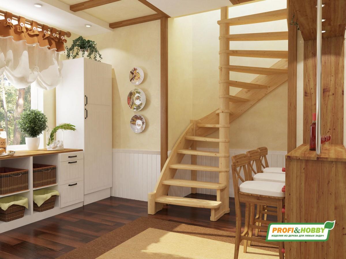 Лестница из сосны ЛС-01м Правая
