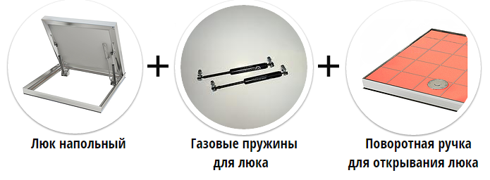 Напольный люк с амортизаторами 600*600*54 МАКС (Поворотная ручка)