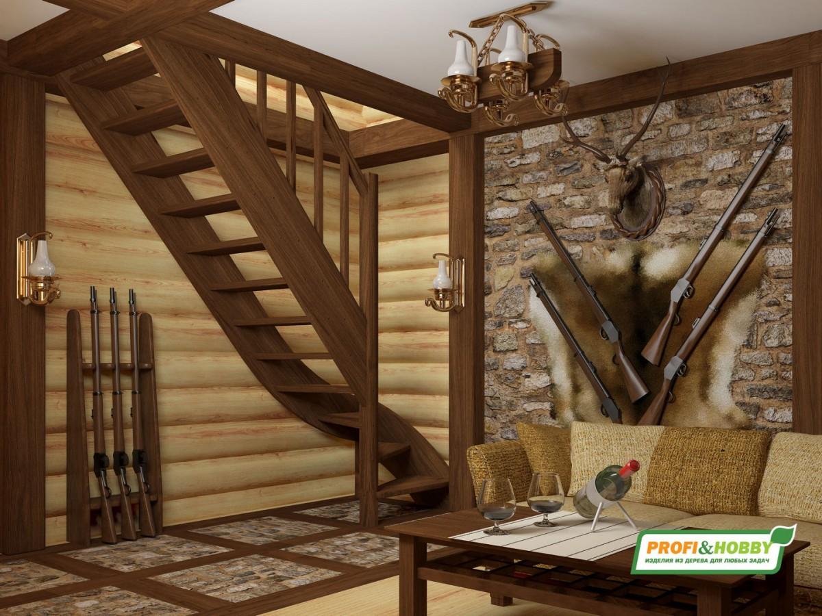 Лестница из сосны ЛС-07м (вариант №1) Правая