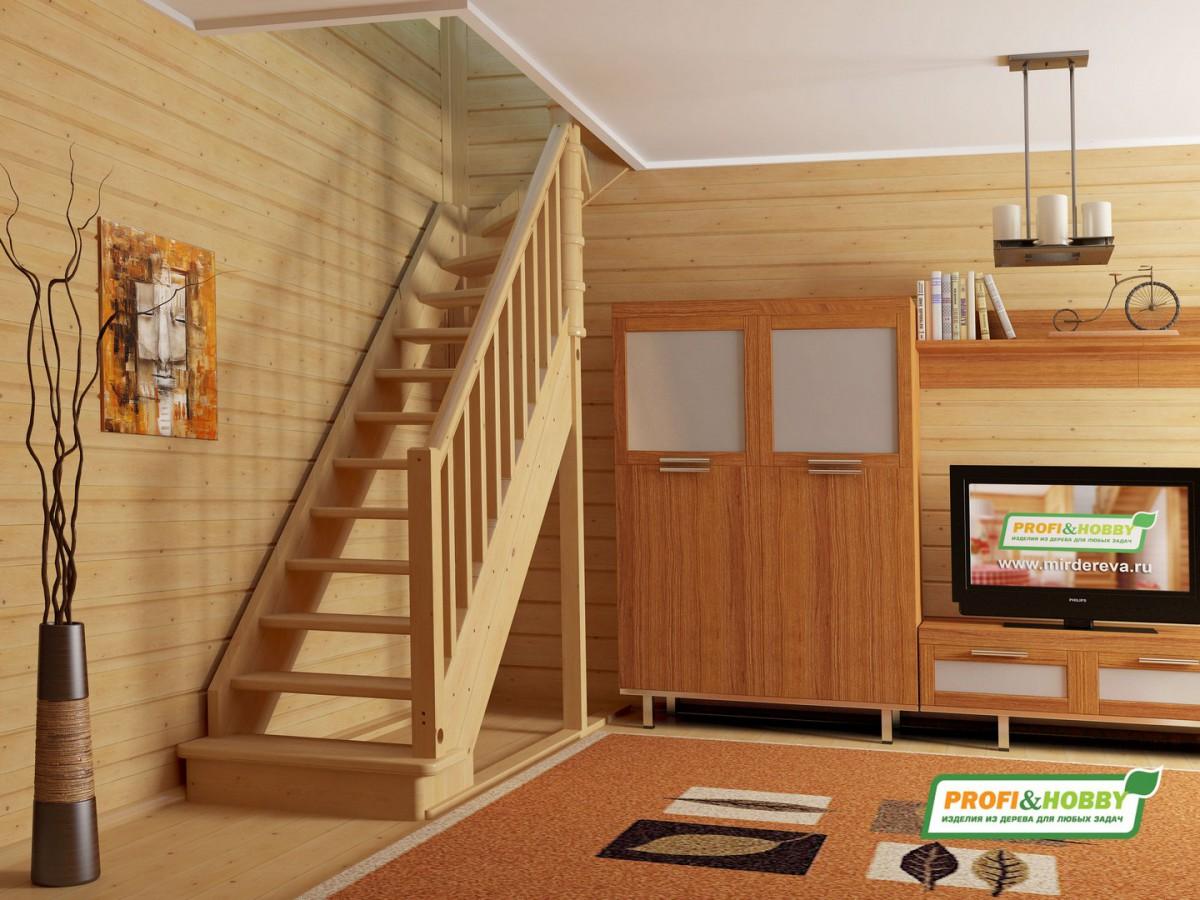 Лестница из сосны ЛС-215м Правая NEW