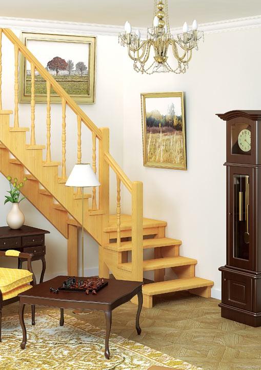 Деревянная межэтажная лестница ЛЕС-08 (поворот 90°)