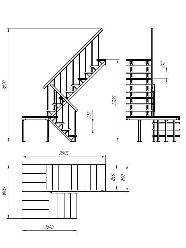 Каркас к лестнице ЛЕС-06 универсальной (поворот 180°, высота 2,76 м)