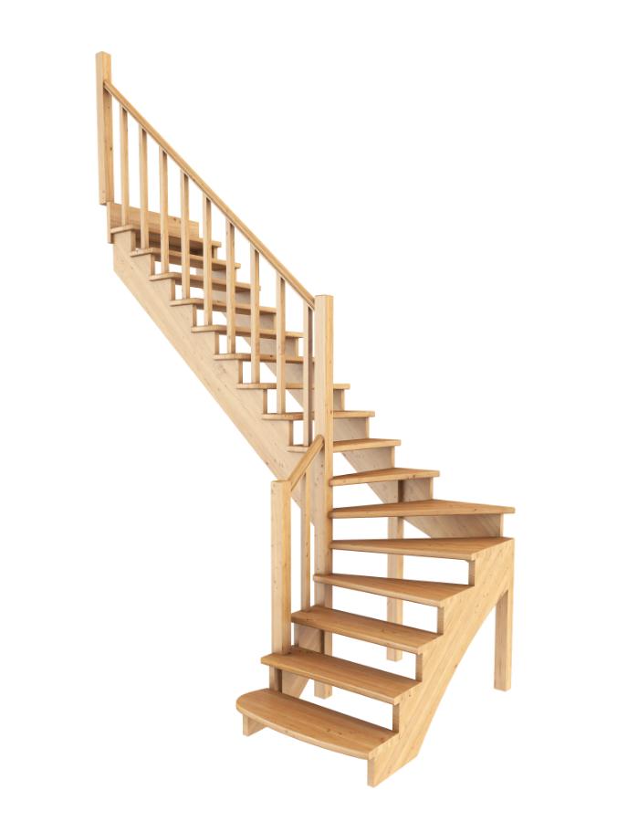 Лестница из сосны К-001м (вариант №6) Левая