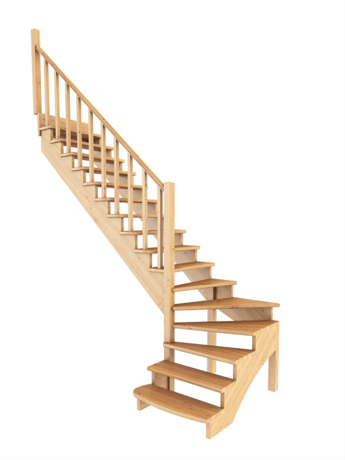 Лестница из сосны К-001м (вариант №5) Левая