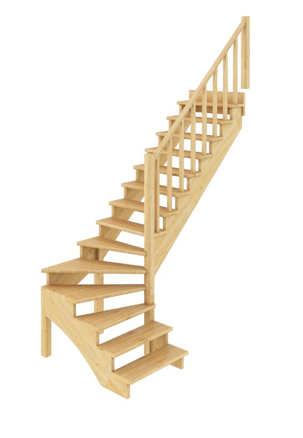 Лестница из сосны К-001м (вариант №3) Правая