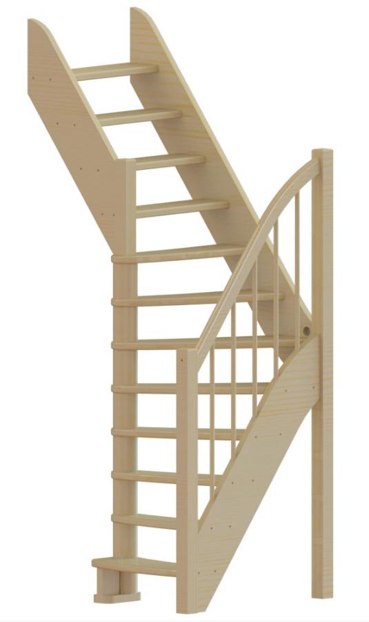 Лестница из сосны  ЛС-91м +1 (Вариант №2) Левая