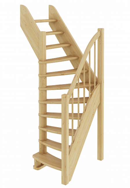 Лестница из сосны  ЛС-91м (Вариант №2) Левая