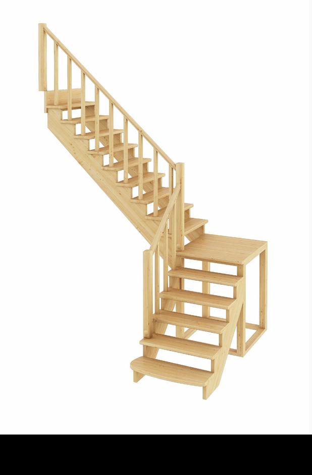 Лестница из сосны К-002м (вараинт №3) Левая